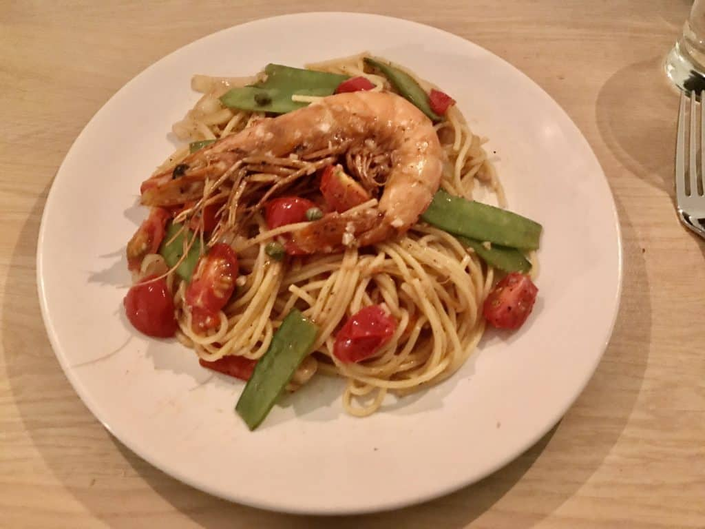 Cheap shrimp pasta dinner