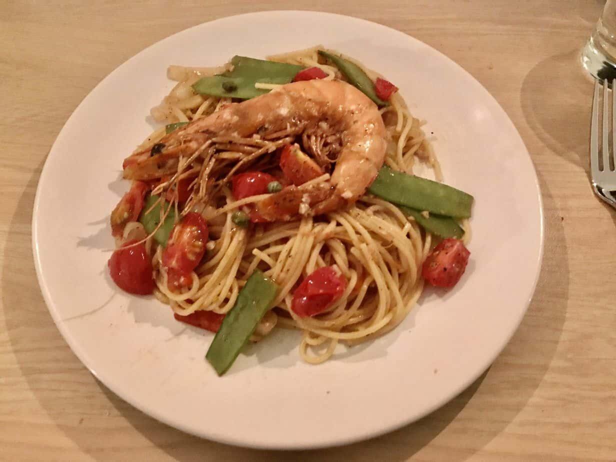 Cheap shrimp pasta dinner