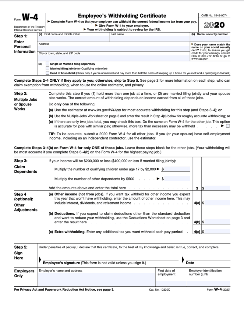 New redesigned w-4 form