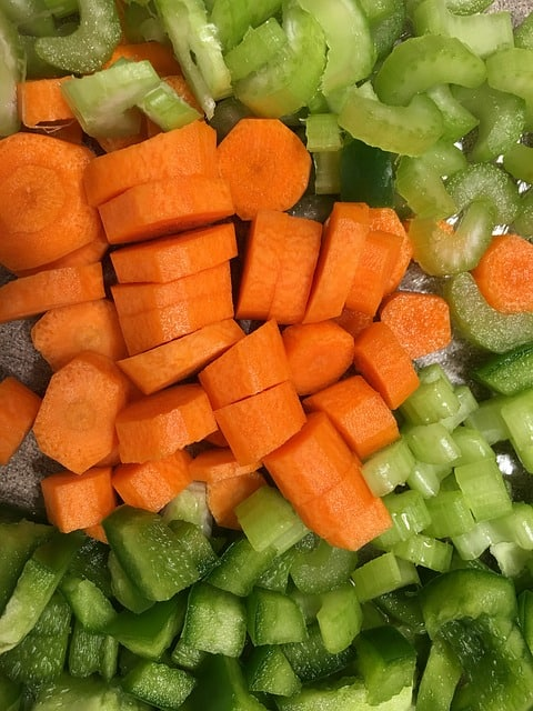 Chopped celery and carrots