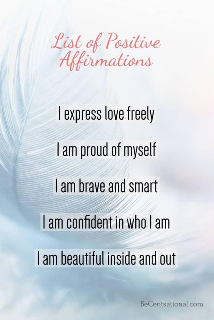 i am positive affirmation list