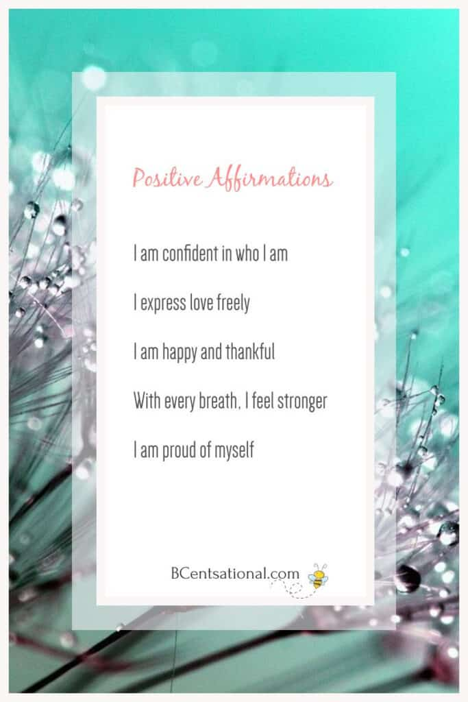 flower background with List of positive affirmations  text overlay