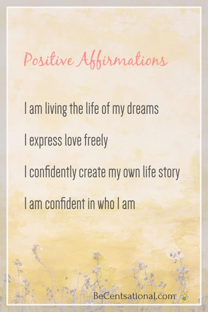 A list of positive affirmation on a flower background