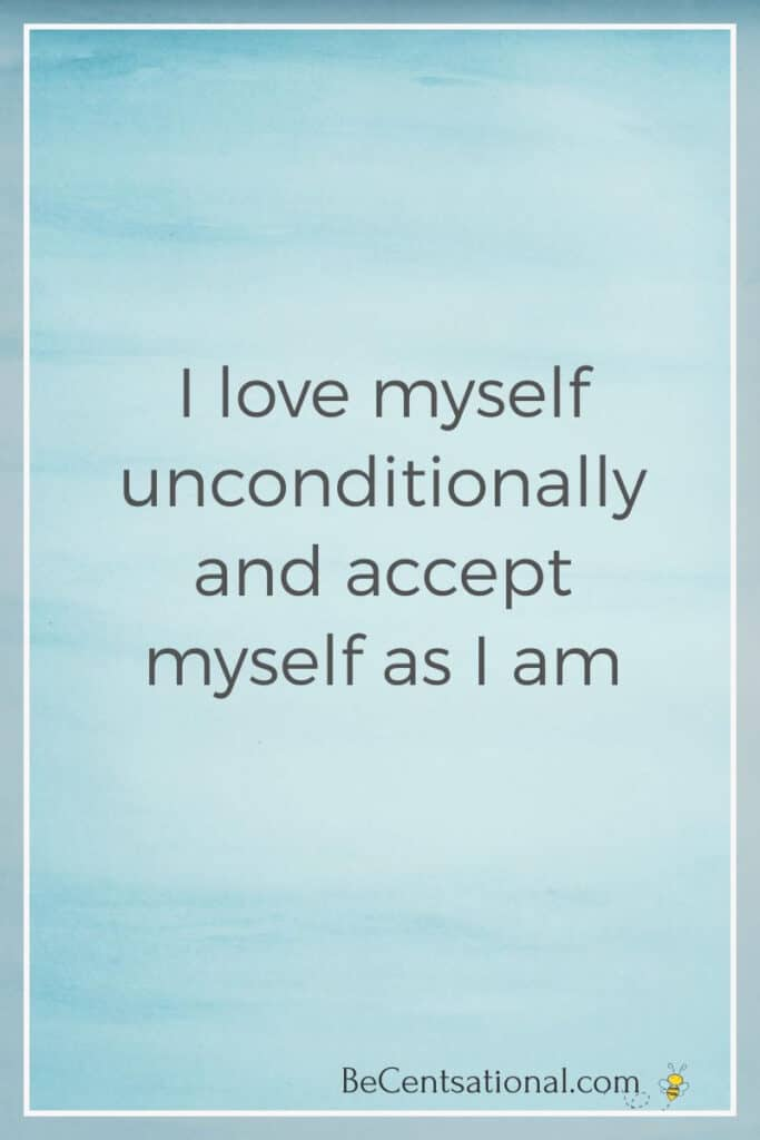 positive affirmation on blue background