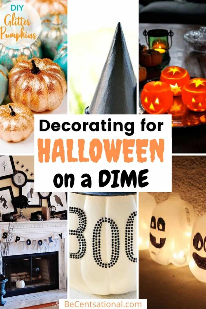 A collection of decorations on a dime. Decorating for Halloween on a Dime