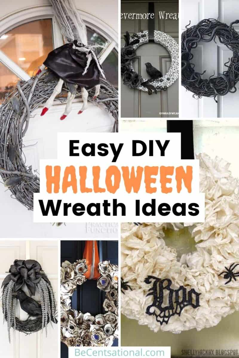 super Easy DIY Halloween Wreath Ideas pins