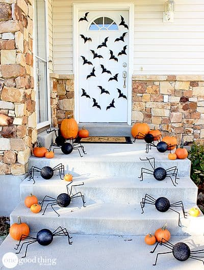 Spiders and Bats Halloween Porch