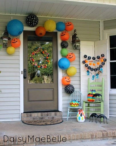 colorful halloween front porch