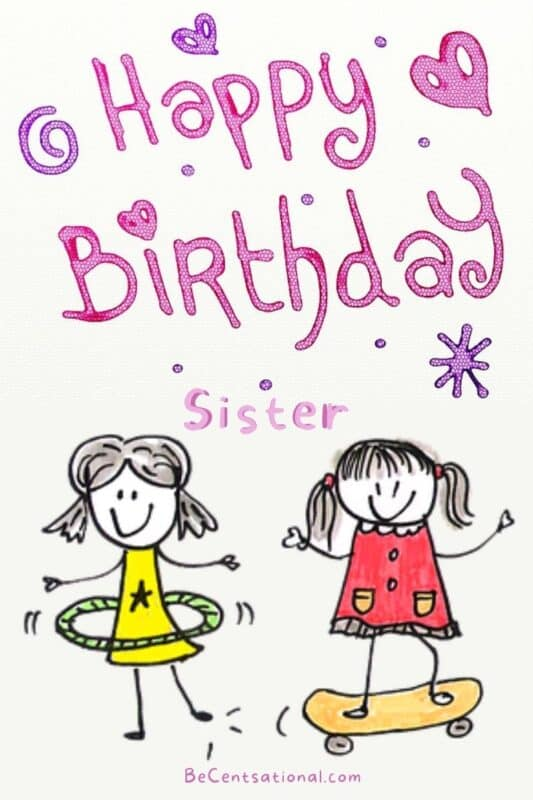 Happy birthday sister funny   two sisters playing with hula and skateboard