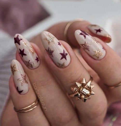 Christmas nails - Christmas stars nails