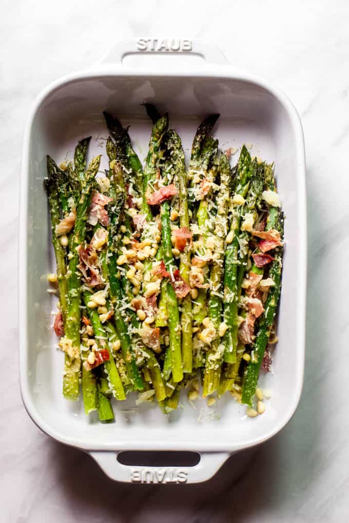 Christmas Side Dishes - asparagus with prosciutto and parmesan
