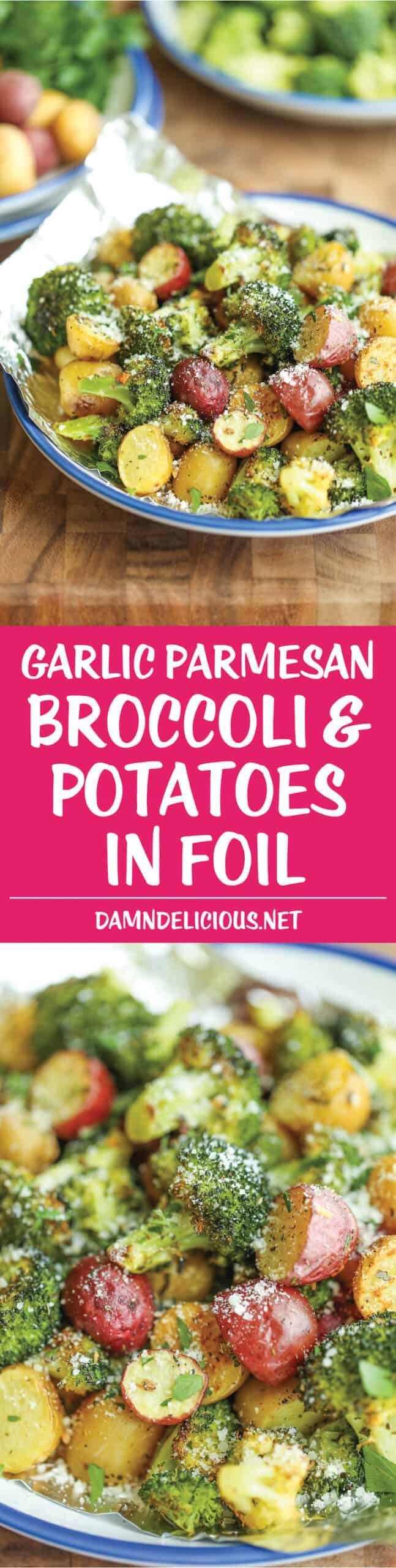 Christmas Side Dishes - broccoli and potatoes in foil