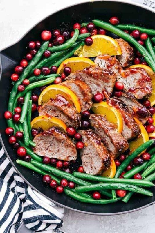 Christmas dinner-roast turkey with cramberry pecans