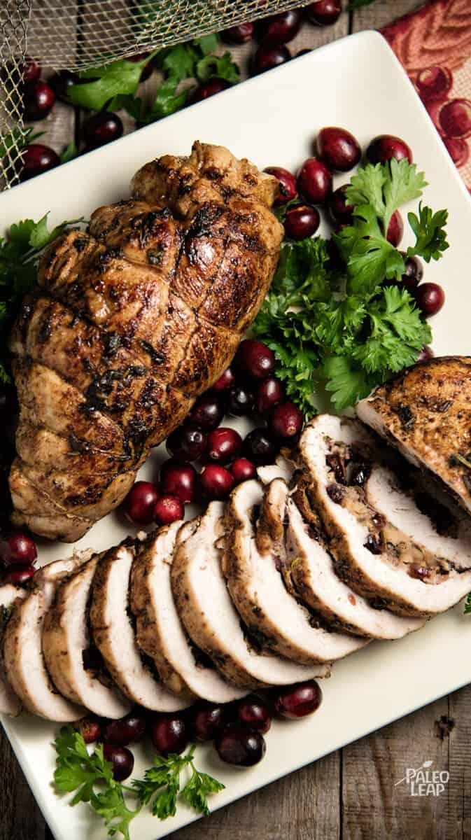 Christmas dinner-cranberry apple stuffed turkey