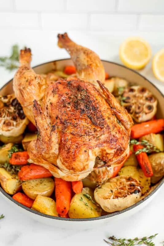 Christmas dinner-roast chicken with potatoes
