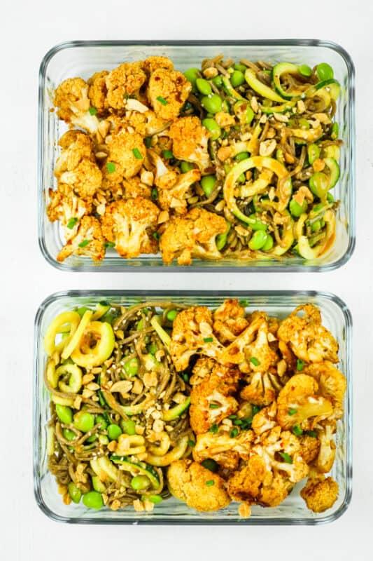 Thai Peanut Cauliflower-Vegan Meal prep ideas