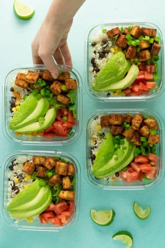Easy Tofu Burrito Meal Prep Bowl-Vegan Meal prep ideas