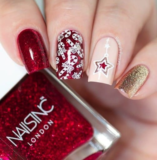 christmas nails - christmas stars and candy canes nails