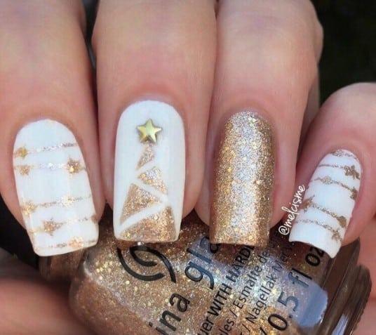 christmas nails - Gold christmas decorations nails