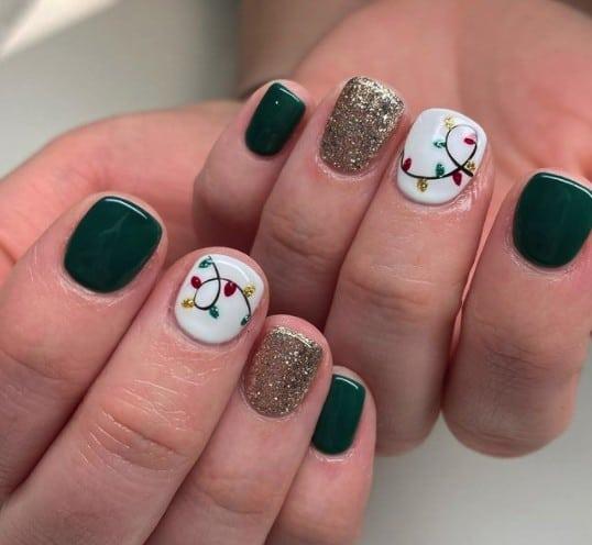 christmas nails - red and green christmas lights nails