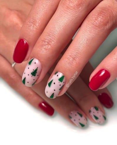 christmas nails - green christmas tree nails