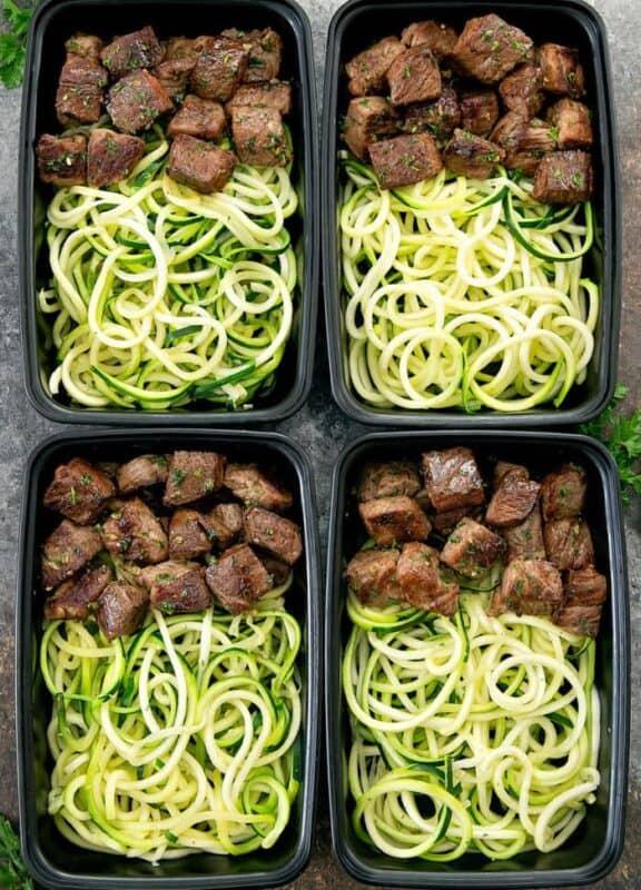 GARLIC BUTTER STEAK BITES WITH ZUCCHINI NOODLES meal prep ideas