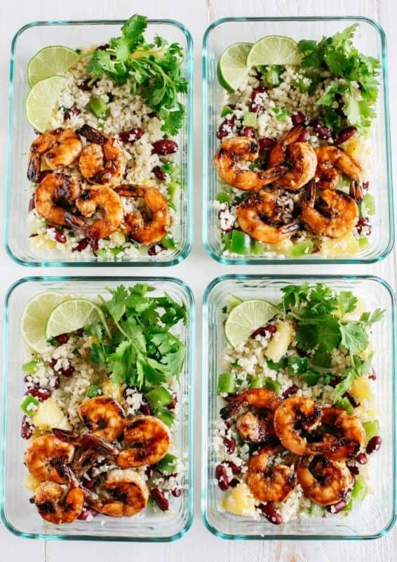 CARIBBEAN JERK SHRIMP WITH CAULIFLOWER RICE meal prep ideas