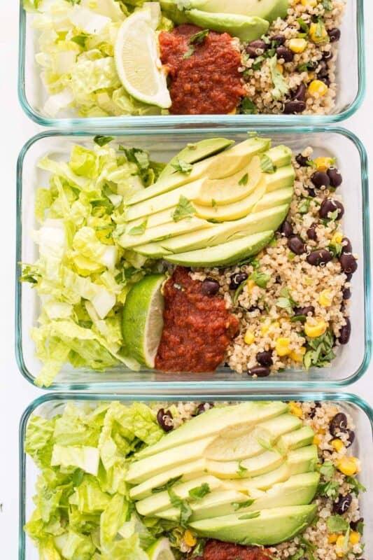 Vegetarian Quinoa Burrito Bowls meal prep ideas