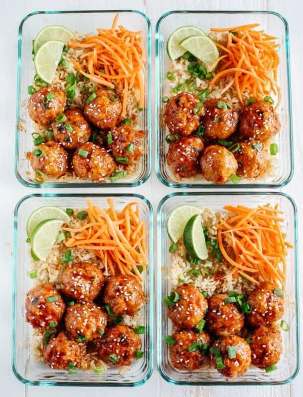 HONEY SRIRACHA GLAZED MEATBALLS meal prep ideas