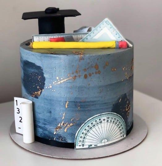 Geometry Blue Cake