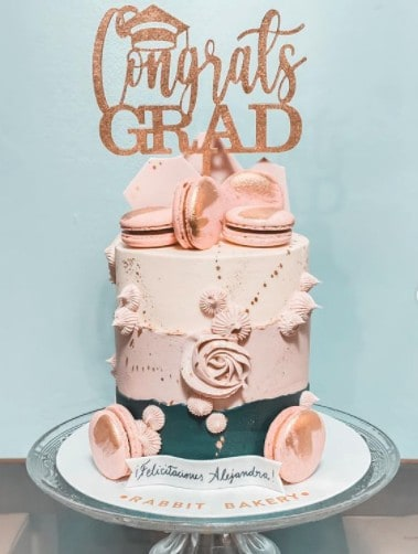 Pink and Gold Congrats Cake