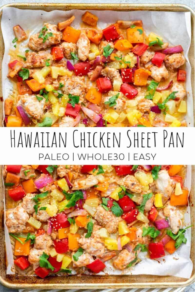 hawaiian chicken sheet pan meal with chicken, pineapple and red and yellow peppers