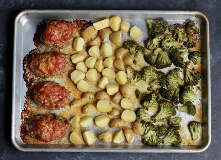 mini meatloafs with potatoes and broccoli in sheet pan