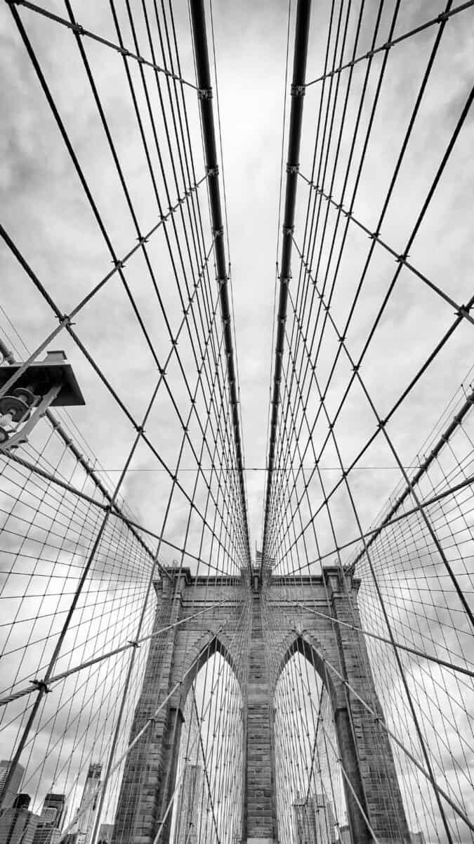Black White NYC Brooklyn Bridge iPhone Wallpapers