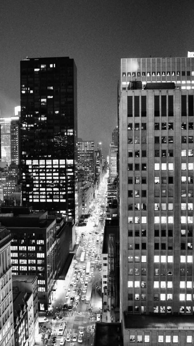 Black White NYC city lights iPhone Wallpapers