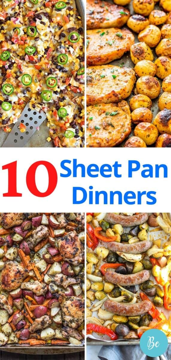 Sheet pan dinner pin with 4 meals