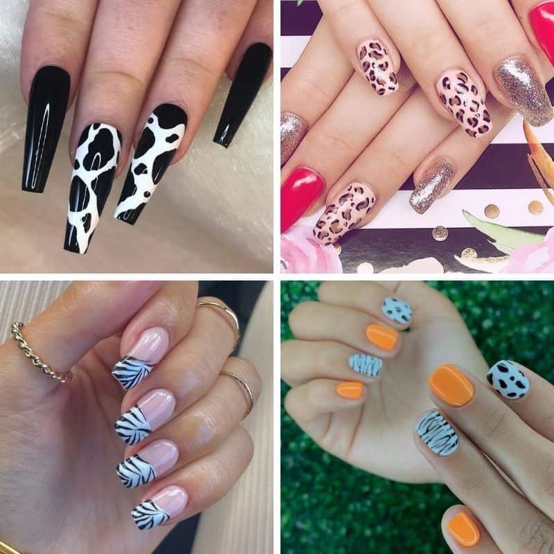 Summer Animal Print Nail Design
