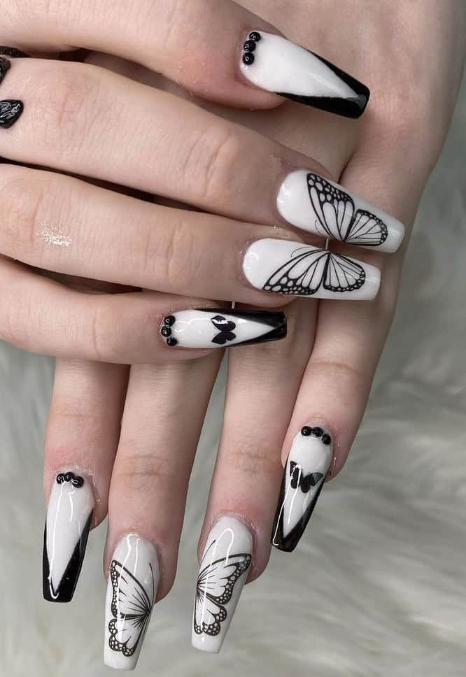 butterfly black and white nail design