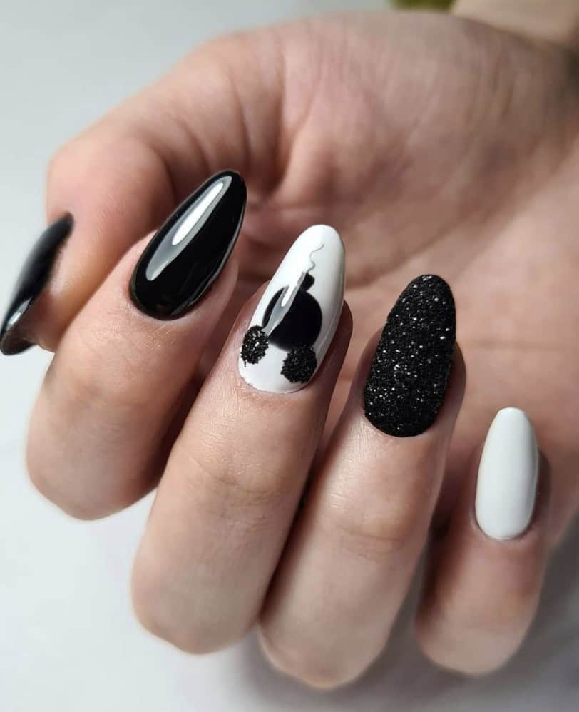Mickey Mouse black and white nail design