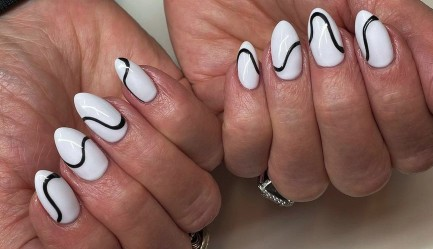 Geometric Black and White Nail Design