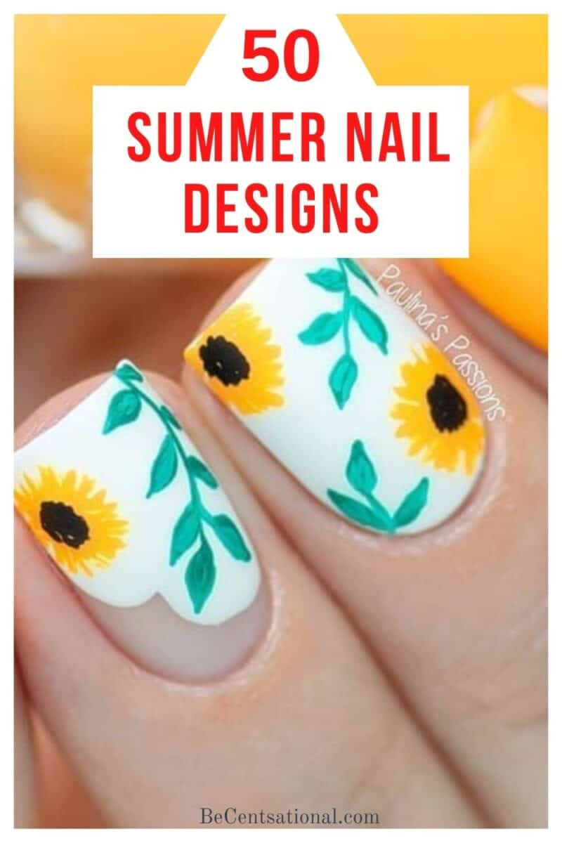 summer nail designs. White background with yellow sunflowers and green leaves.