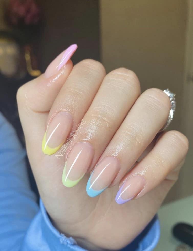 Summer Rainbow Nails, rainbow glitter nails