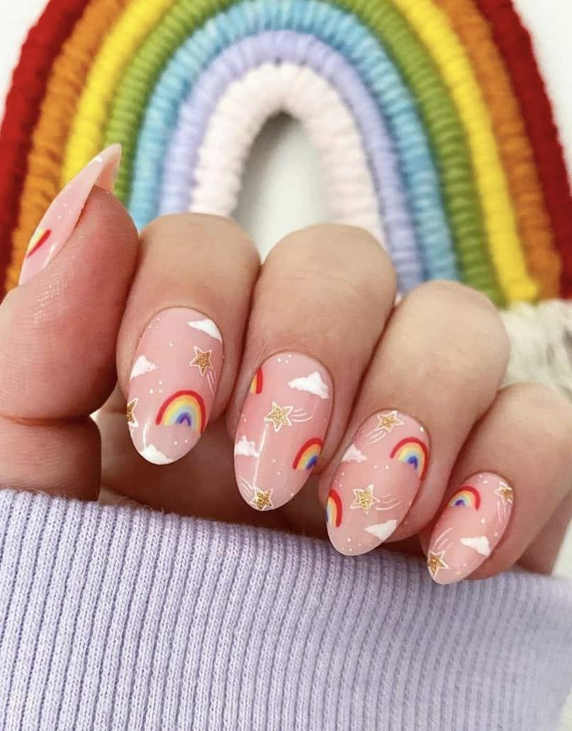 rainbow nails acrylic