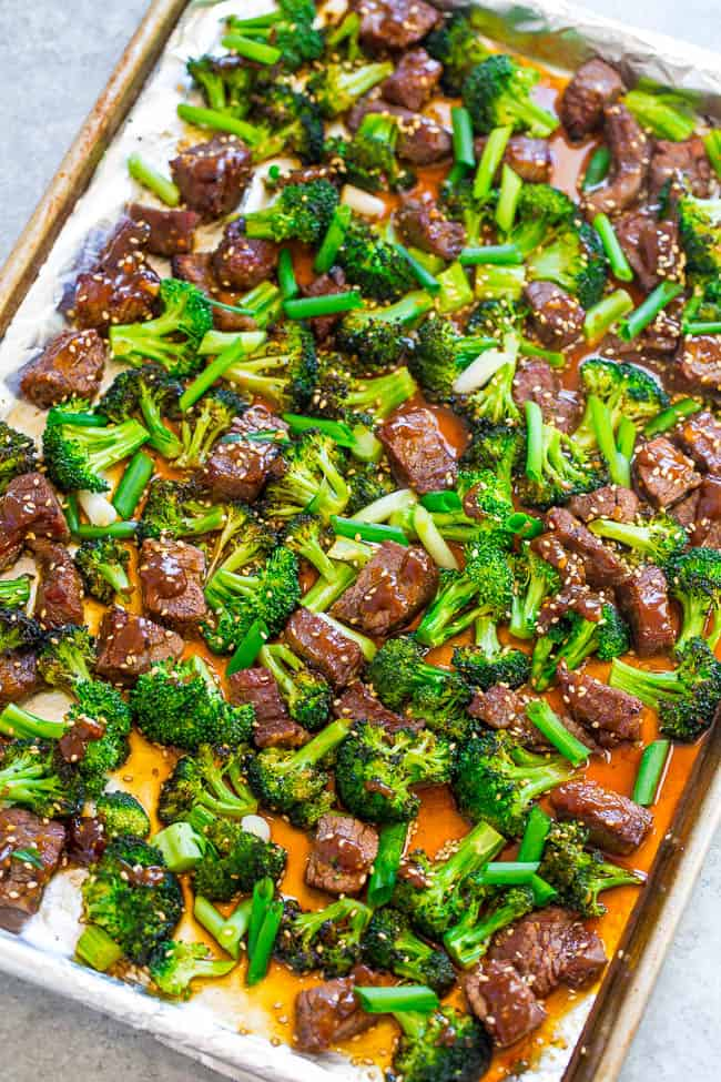 sliced Beef and broccoli roasted in a sheet pan
