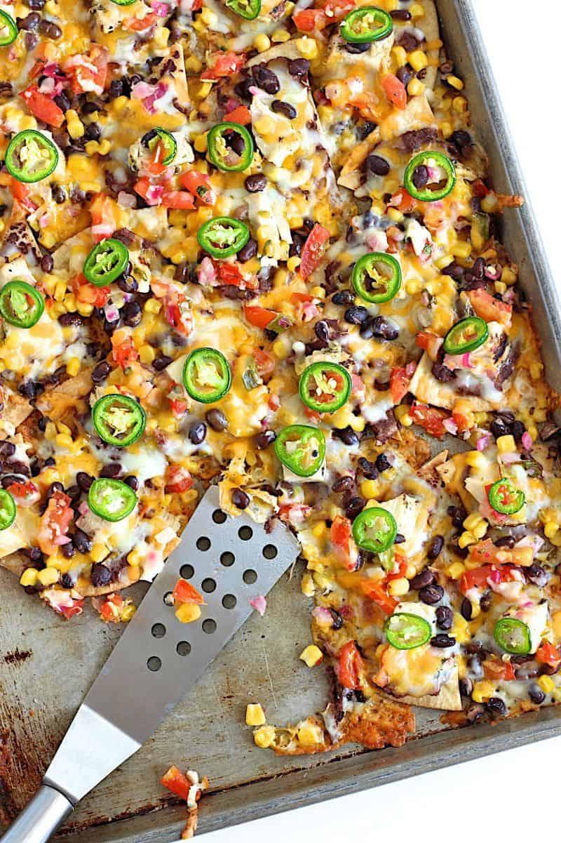 sheet pan nacho meal tortillas, peppers, cheese