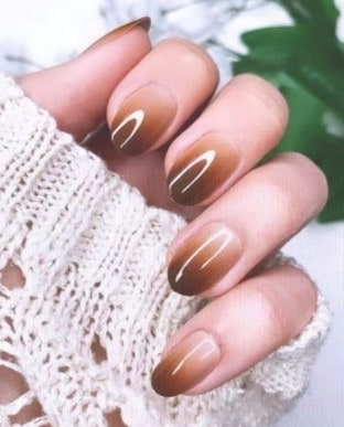 brown Long press on nails