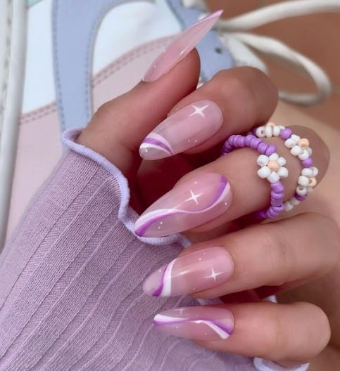 trendy Long press on nails line