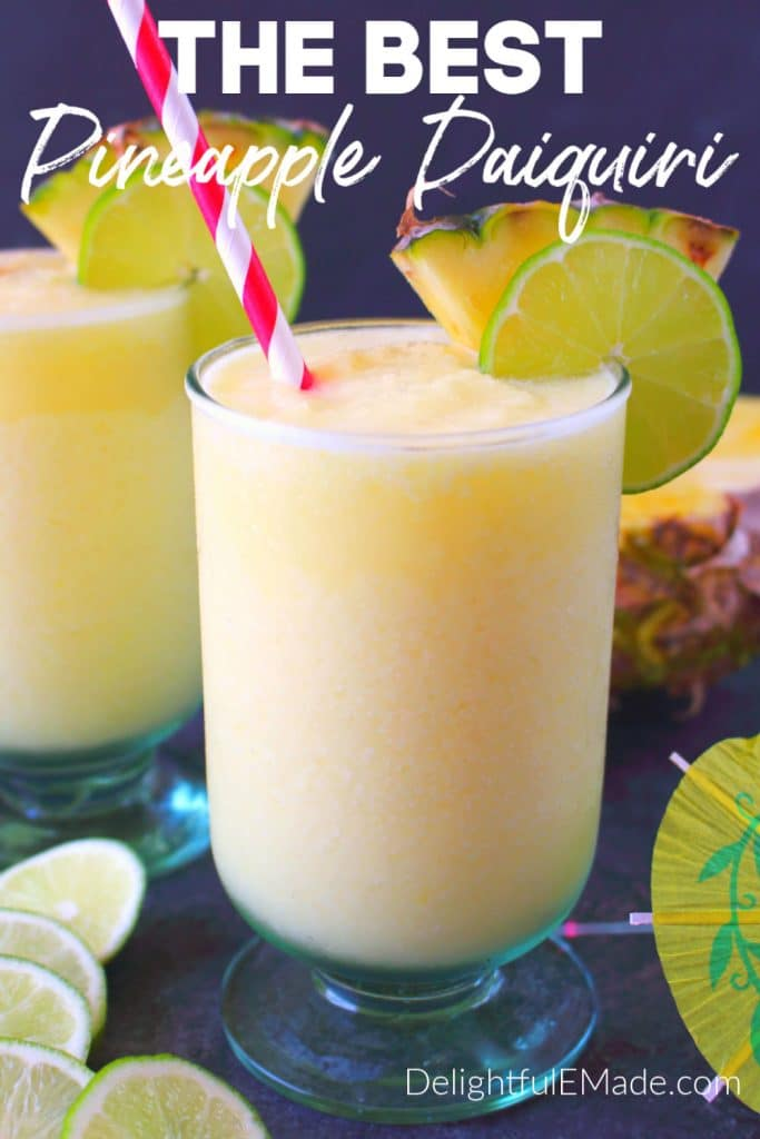 Pineapple daiquiri with sliced pineapple and lime is the perfect summer drink and tailgate cocktail. You super bowl party guests will love it.