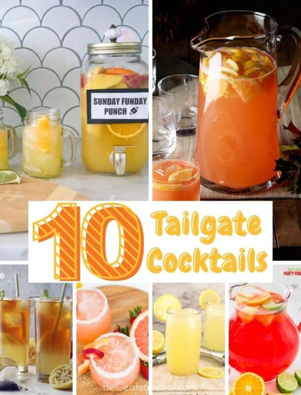 Tailgate Cocktails for the entire crowd. These game day drinks and Super Bowl party drinks and recipes will keep your football party going.