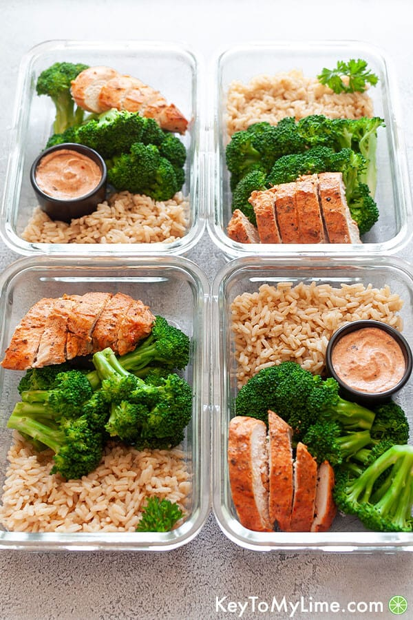 4 containers of Chicken and Rice Meal Prep ideas for beginners